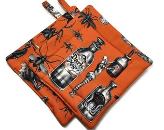 Quilted Pot Holders Set of 2 Bugs , Bats & Potions Orange Black
