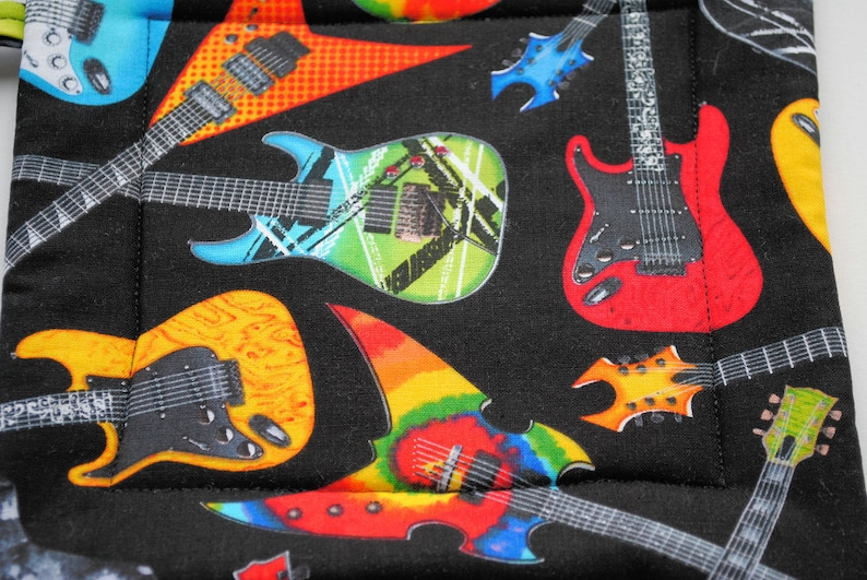 set of 2 Electric Guitars Quilted  Pot Holders