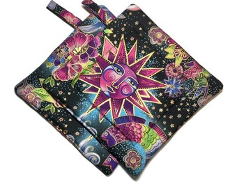 Quilted Pot Holders Set of 2,Celestial Music ,Laurel Burch, Sun and Moon