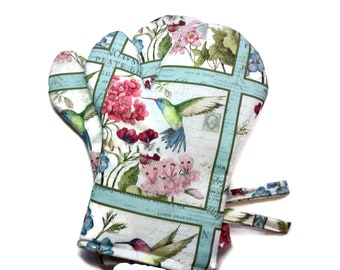 Handmade Oven Mitts, set of 2, Hummingbirds and Flowers