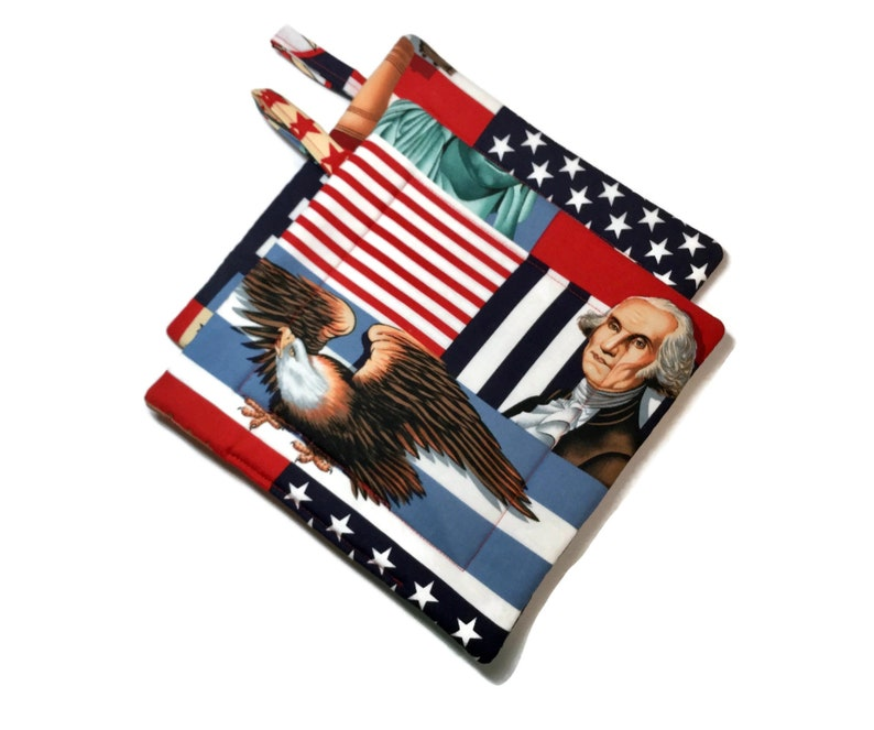 Quilted Pot Holders Set of 2  Red White Blue  Americana Alexander Henry