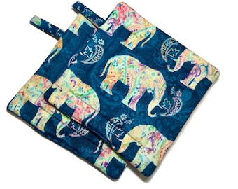 Quilted Pot Holders Elephants Blue