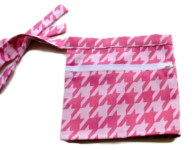 Vendor Server Apron Pink Houndstooth Twill Zipper