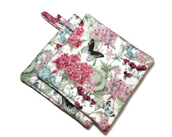 Quilted Pot Holders Set of 2 Butterflies & Flowers