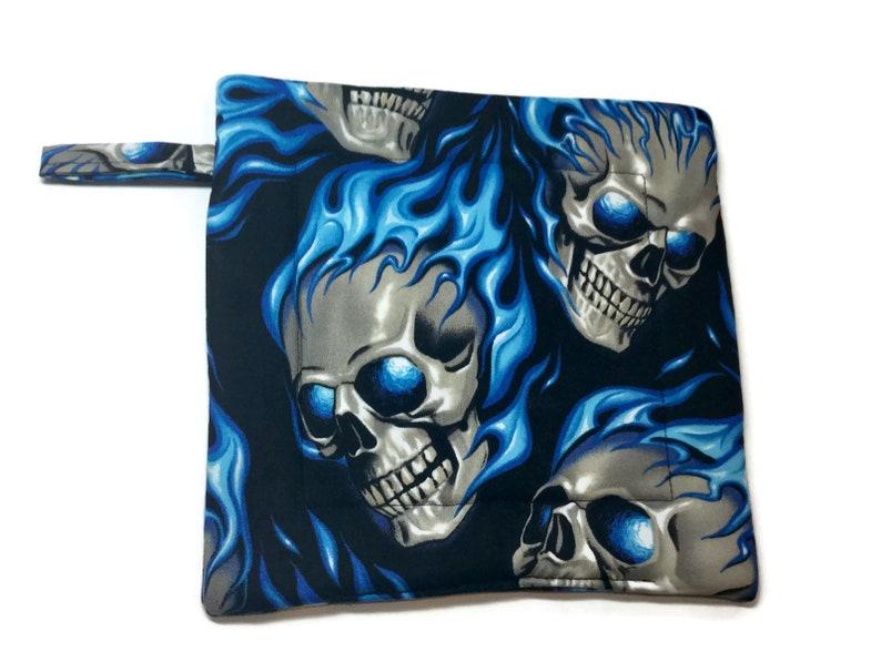 Flaming Skulls Alexander Henry set of 2 Quilted Pot Holders