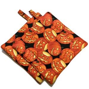 Quilted Pot Holders Set of 2  jack-o-lanterns Alexander Henry
