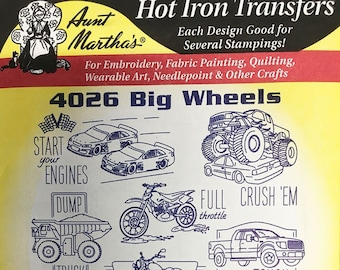 Big Wheels Aunt Marthas Hot Iron Transfers for Embroidery Fabric Painting Quilting Wearable Art Needlepoint Crafts 4026