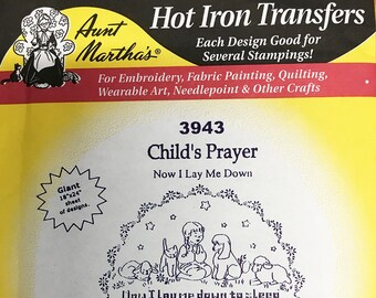 Child's Prayer Aunt Marthas Hot Iron Transfers for Embroidery Fabric Painting Quilting Wearable Art Needlepoint Crafts 3943