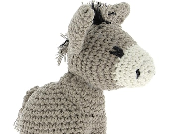 ON SALE Hoooked DIY Crochet kit Donkey Joe Toy Eco Barbante Cotton Yarn with Crochet Hook and Instructions