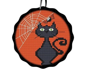 """Ornament Kit Spooky Cat and Pumpkin Creative Needle Arts Counted Cross Stitch Kit All Materials Included 3"""" x 3"""""""