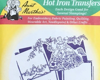 Lovely Lady 4 Designs Pillow Slips Aunt Marthas Hot Iron Transfers for Embroidery Fabric Painting Quilting Needlepoint Crafts 3140