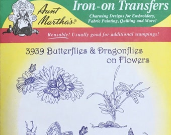 Butterfly Dragonfly Flower Aunt Marthas Hot Iron Transfers for Embroidery Fabric Painting Quilting Needlepoint Craft 3939