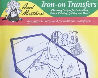 Assorted Alphabet Letters for Linens Aunt Marthas Hot Iron Transfers for Embroidery Fabric Painting Quilting Needlepoint Craft 9240