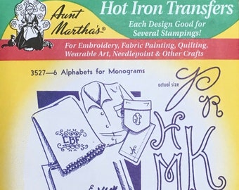 6 Alphabets for Monograms Aunt Marthas Hot Iron Transfers for Embroidery Fabric Painting Quilting Needlepoint Craft 3527
