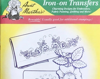 Pretty Rose Flower Motifs Aunt Marthas Hot Iron Transfers for Embroidery Fabric Painting Quilting Needlepoint Crafts 3213