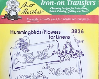 Hummingbirds Flowers for Linens Aunt Marthas Hot Iron Transfers for Embroidery Fabric Painting Quilting Needlepoint Crafts 3836