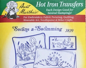 Swans a Swimming Aunt Marthas Hot Iron Transfers for Embroidery Fabric Painting Quilting Needlepoint Craft 3839