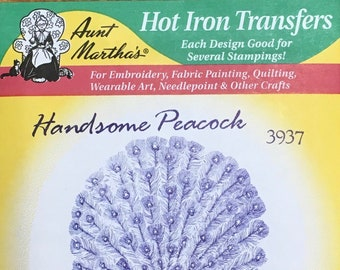 Handsome PeacockAunt Marthas Hot Iron Transfers for Embroidery Fabric Painting Quilting Needlepoint Craft 3937