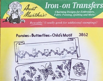 Pansies Baby Animals Butterfly Aunt Marthas Hot Iron Transfers for Embroidery Fabric Painting Quilting Needlepoint Craft 3862
