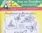 Sunflowers and Butterflies Aunt Marthas Hot Iron Transfers for Embroidery Fabric Painting Quilting Needlepoint Crafts 3941