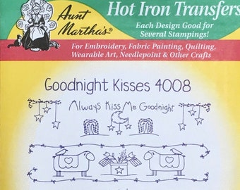 Goodnight Kisses Aunt Marthas Hot Iron Transfers for Embroidery Fabric Painting Quilting Needlepoint Craft 4008