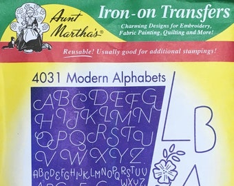 Modern Alphabets Aunt Marthas Hot Iron Transfers for Embroidery Fabric Painting Quilting Needlepoint Crafts 4031