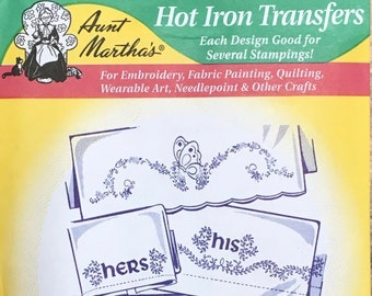 His and Hers Butterflies Flowers Aunt Marthas Hot Iron Transfers for Embroidery Fabric Painting Quilting Needlepoint Crafts 3742