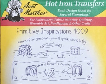 Primitive Inspirations Aunt Marthas Hot Iron Transfers for Embroidery Fabric Painting Quilting Needlepoint Craft 4009