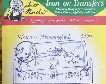 Hearts and Hummingbirds Aunt Marthas Hot Iron Transfers for Embroidery Fabric Painting Quilting Needlepoint Craft 3880