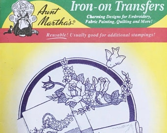 Three Pillowslip Motifs Aunt Marthas Hot Iron Transfers for Embroidery Fabric Painting Quilting Needlepoint Craft 3268