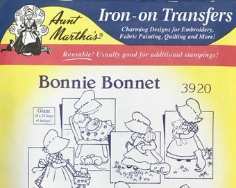 Bonnie Bonnet - Aunt Marthas Hot Iron Transfers for Embroidery Fabric Painting Quilting Needlepoint Crafts 3920 Made in the USA