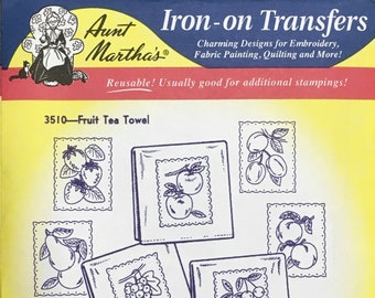Fruit Tea Towels - Aunt Marthas Hot Iron Transfers for Embroidery Fabric Painting Quilting Needlepoint Crafts 3510