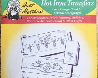 Butterfly Floral Motifs Aunt Marthas Hot Iron Transfers for Embroidery Fabric Painting Quilting Needlepoint Crafts 3734
