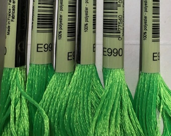 DMC E990 Neon Green Metallic Light Effects Embroidery Floss 1 Skein 6 Strand Thread for Embroidery Cross Stitch Sewing Beading