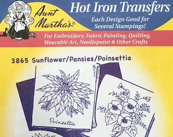 Sunflower Pansies Poinsettia - Aunt Marthas Hot Iron Transfers Embroidery Fabric Painting Quilting Needlepoint Crafts 3865 Made in the USA