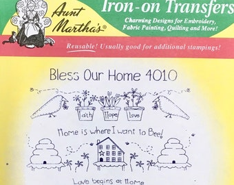 Bless Our Home Flowers Birds Bees Aunt Marthas Hot Iron Transfers for Embroidery Fabric Painting Quilting Needlepoint Crafts 4010