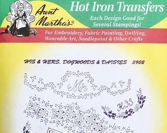 His and Hers Dogwoods Daisies Aunt Marthas Hot Iron Transfers for Embroidery Fabric Painting Quilting Needlepoint Crafts 3902