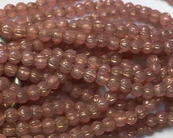 Melon Beads Rose Pink Opal with Gold Finish Czech Pressed Glass Round Beads 3mm 50 beads