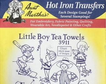 Little Boy Tea Towels - Aunt Marthas Hot Iron Transfers for Embroidery Fabric Painting Quilting Needlepoint Crafts 3911 Made in the USA