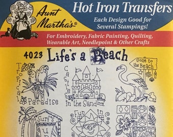Life's a Beach - Aunt Marthas Hot Iron Transfers for Embroidery Fabric Painting Quilting Needlepoint Crafts 4023