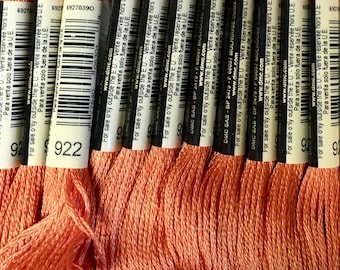 DMC 922 Copper Light Embroidery Floss 2 Skeins 6 Strand Thread for Embroidery Cross Stitch Needlepoint Sewing Beading