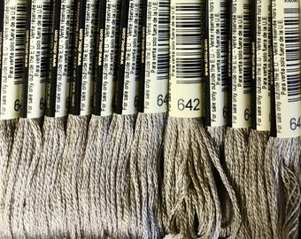 DMC 642 Beige Grey Dark Embroidery Floss 2 Skeins 6 Strand Thread for Embroidery Cross Stitch Needlepoint Sewing Beading