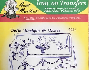Belle Baskets Roses Aunt Marthas Hot Iron Transfers for Embroidery Fabric Painting Quilting Needlepoint Crafts 3881
