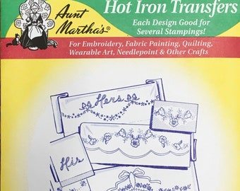 His and Hers Basket Aunt Marthas Hot Iron Transfers for Embroidery Fabric Painting Quilting Needlepoint Crafts 3735