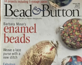 Bead and Button Magazine 14 Projects Enamel Beads Button Quilts Polymer Clay 5 Vintage Pieces February 1999