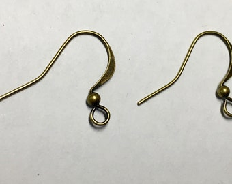 Antique Brass Plated Surgical Steel Hammered Long Earwire French Hook Earring with Bead 15x25mm 22 ga 12 pairs Made in USA F384