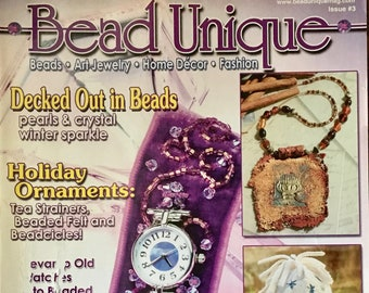 Bead Unique Magazine Decked Out in Beads Pearls and Crystal Holiday Ornaments Art Jewelry Home Decor Victorian Plant Stand Winter 2005
