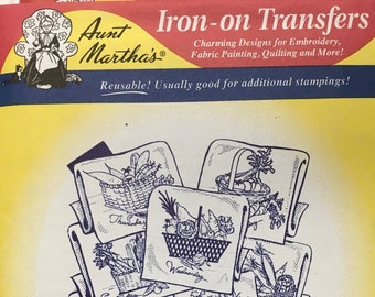 Baskets of Vegetables Aunt Marthas Hot Iron Transfers Embroidery Fabric Painting Quilting Needlepoint Crafts 3757 Made in the USA