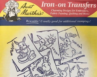 Rabbit Tea Towel Motifs Aunt Marthas Hot Iron Transfers Embroidery Fabric Painting Quilting Needlepoint Crafts 675 Made in the USA