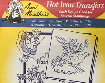 Dutch Girl Tea Towels Aunt Marthas Hot Iron Transfers Embroidery Fabric Painting Quilting Needlepoint Crafts 3597 Made in the USA